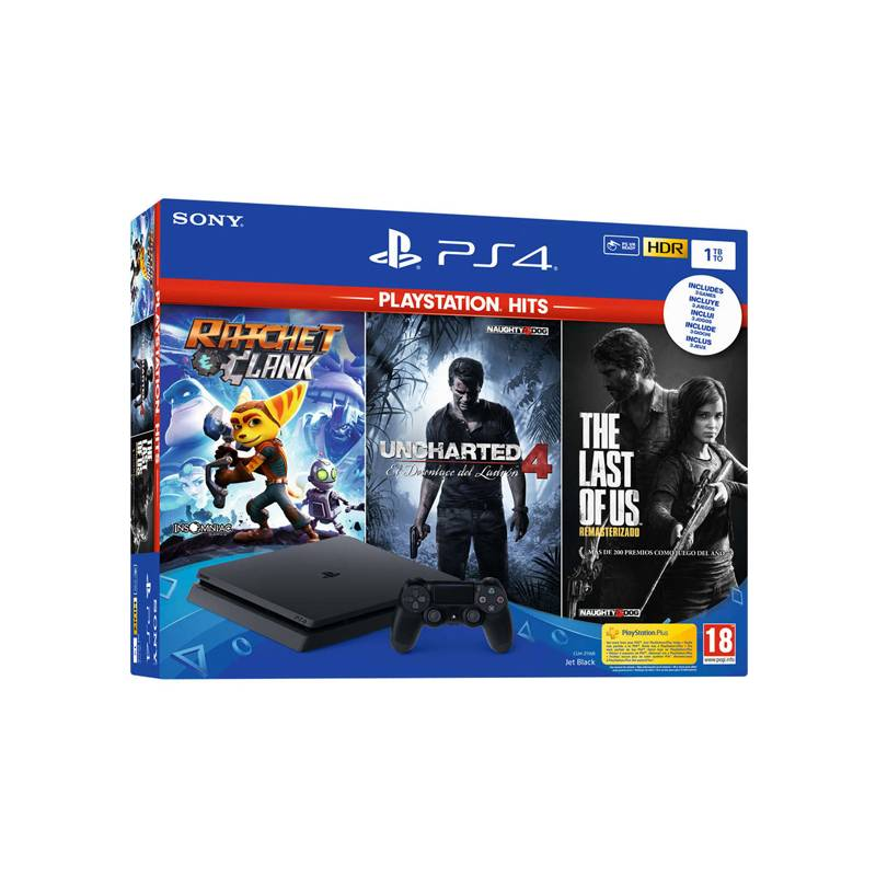 PlayStation 4 Slim + Ratchet & Clank + Uncharted 4 + The Last Of Us Sony Black