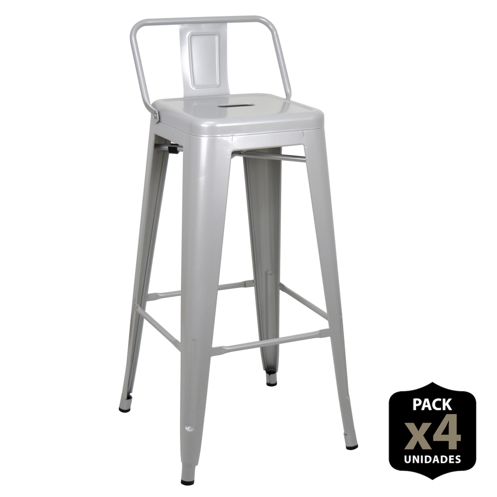 Pack 4 Stools Tudix With Backrest-43 X43 X93 Cm-Silver Gray-4 PCs
