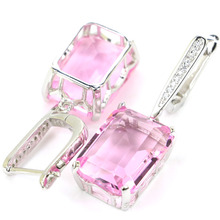 11.0g Real 925 Solid Sterling Silver Classic 18x13mm Pink Kunzite CZ Woman's Present CZ Earrings 45x13mm