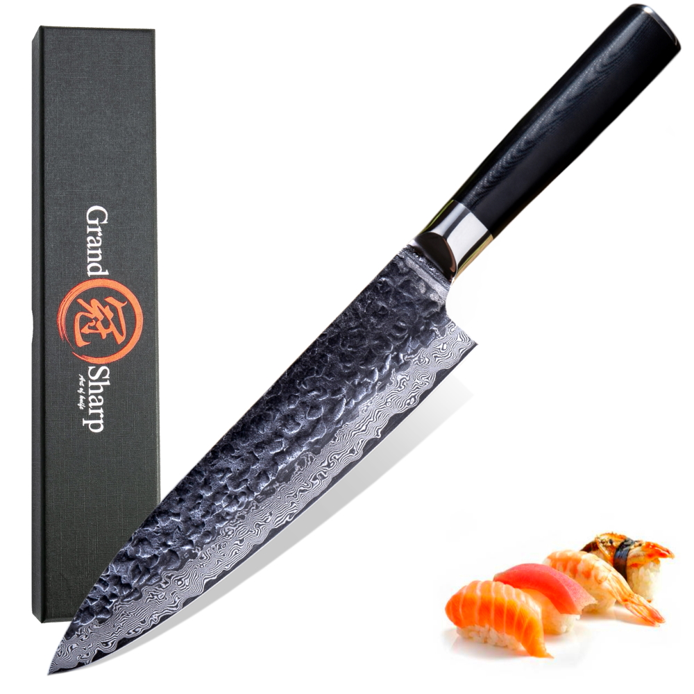Chef Knife Damascus Hammered Kitchen-Knives Cooking-Tools G10-Handle Japanese Steel AUS10