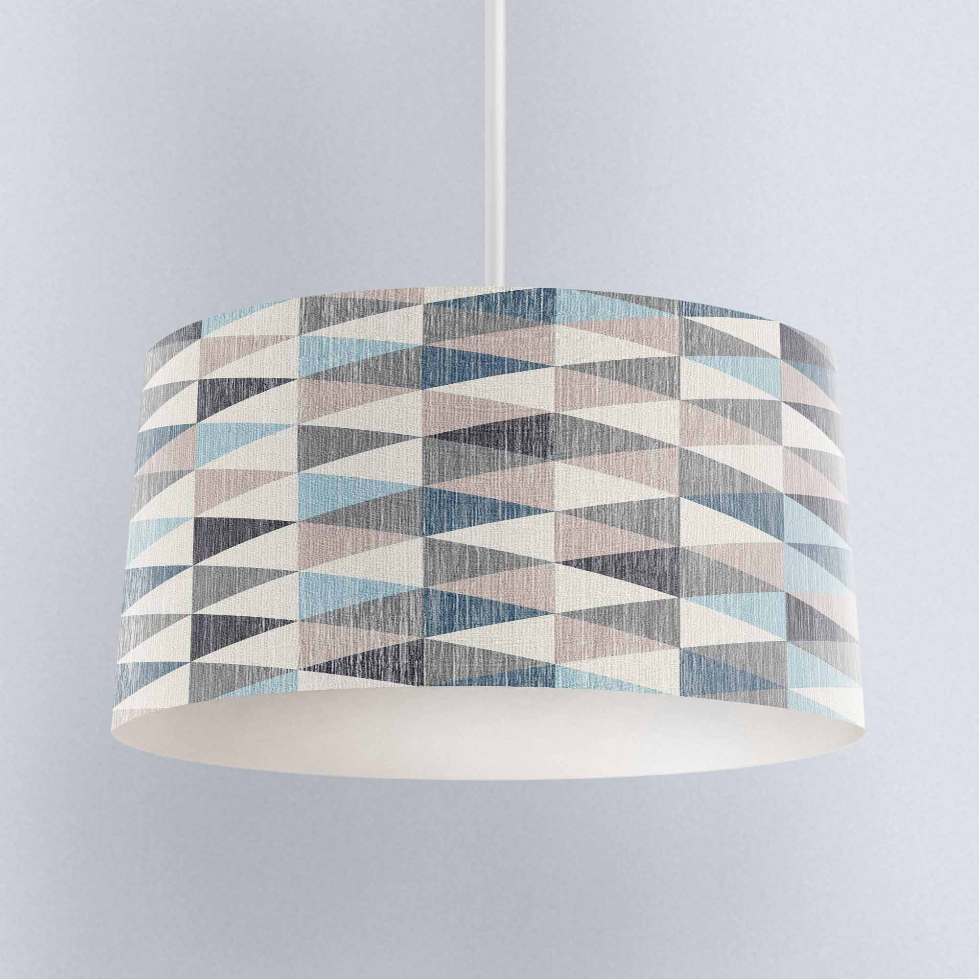 Else Blue Gray Triangle Geometric Floral Digital Printed Fabric Chandelier Lamp Drum Lampshade Floor Ceiling Pendant Light Shade Lamp Covers Shades Aliexpress