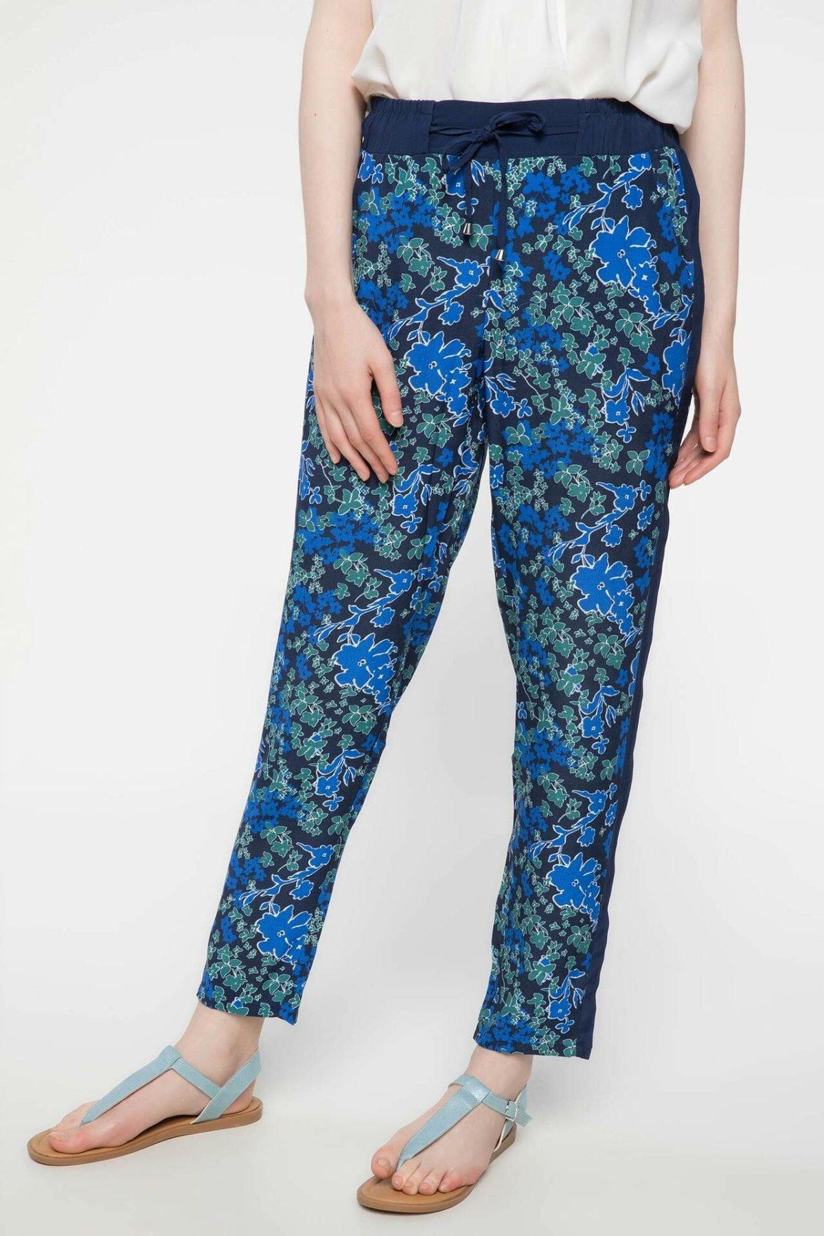 DeFacto Fashion Woman Long Trousers Female Casual Flowers Pattern Ladies Loose Straight Pants Comfort - J1721AZ18SM