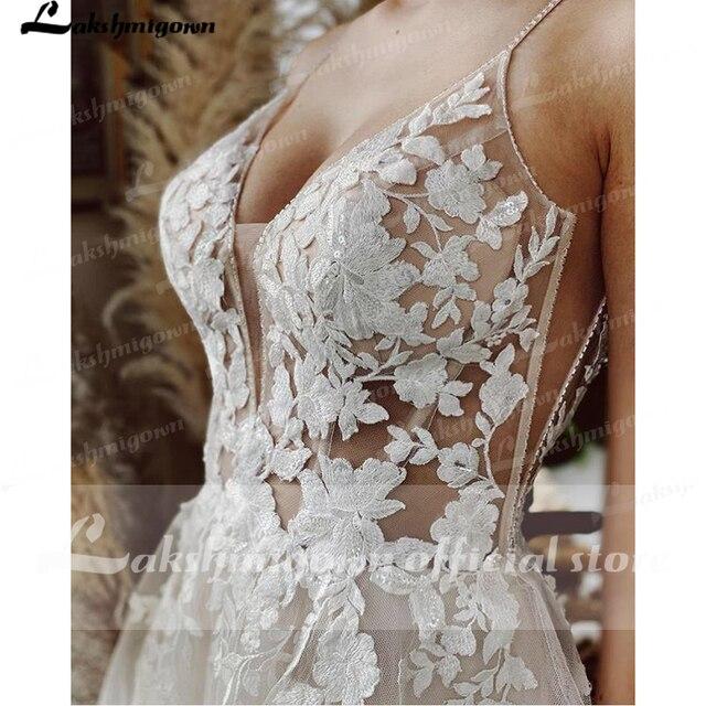 Robe Vintage Beach Wedding Dresses 2021 Tulle Long Lace Beach Bridal Gown A-Line Court Train vestido de noiva Lakshmigown 4
