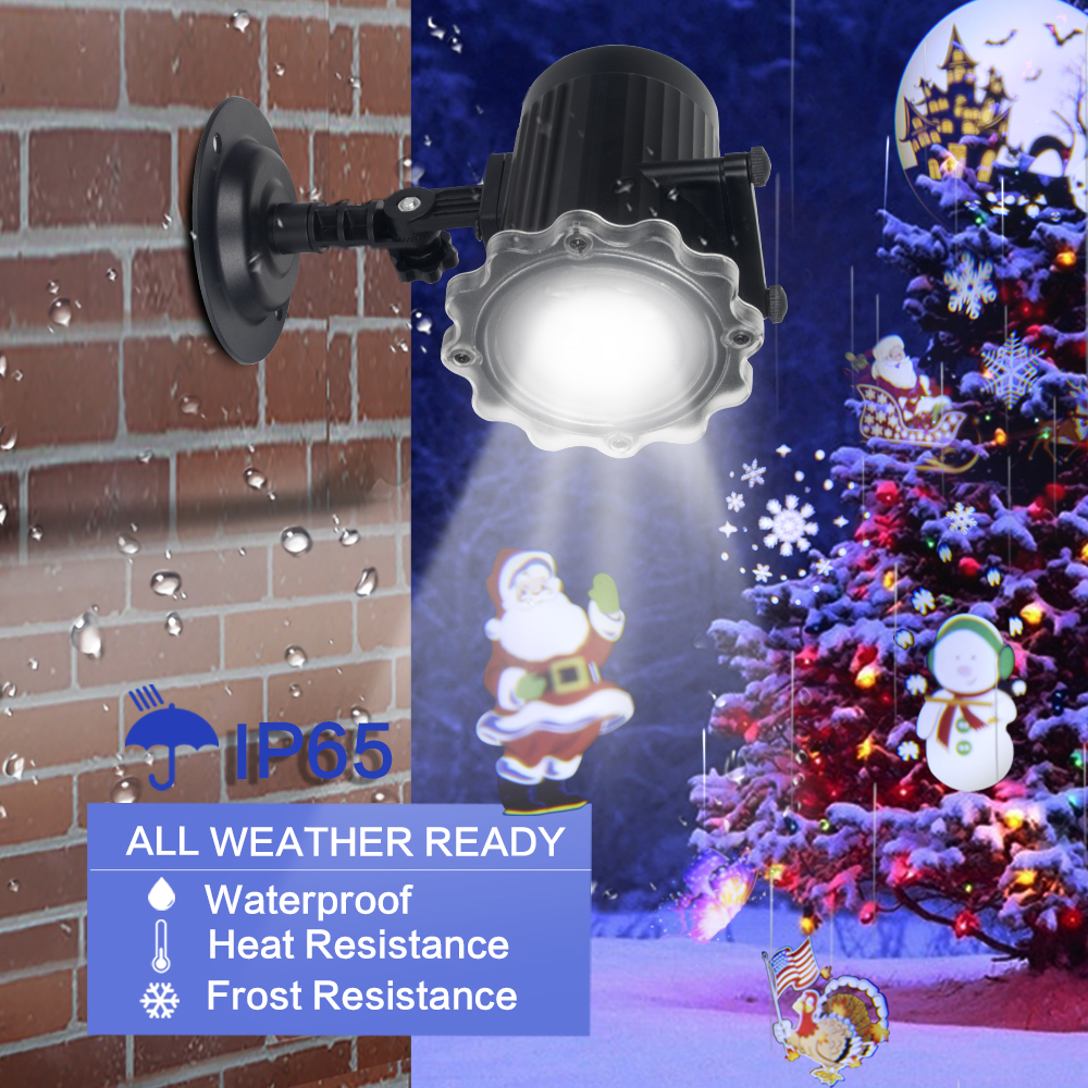 Dynamic 12 Patterns Santa Claus Christmas Laser Projector Indoor Outdoor Animation Effect Snowflake Snowman Projector
