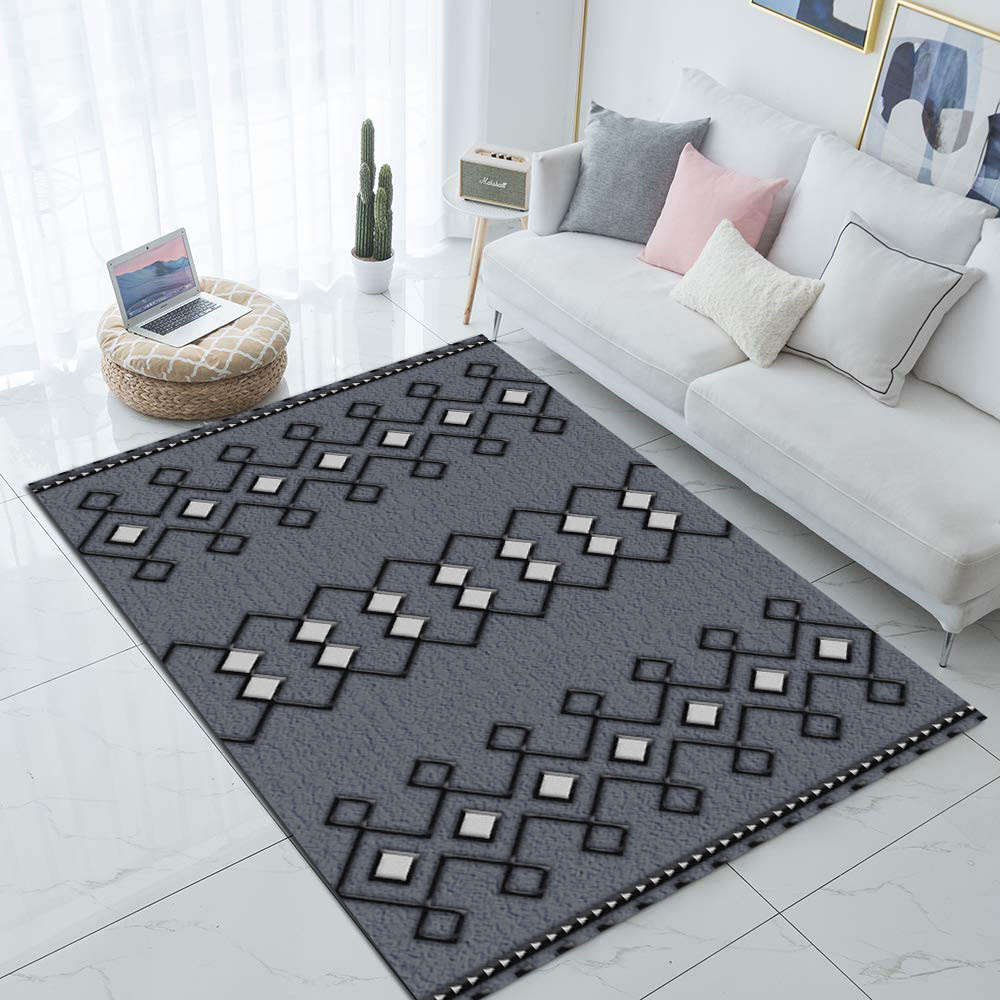 Else Gray White Authentic Ethnic Geometric 3d Print Non Slip Microfiber Living Room Decorative Modern Washable Area Rug Mat