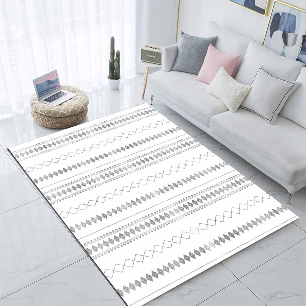Else White Gray Ethnic Bohemian Morrocan 3d Print Non Slip Microfiber Living Room Modern Carpet Washable Area Rug Mat