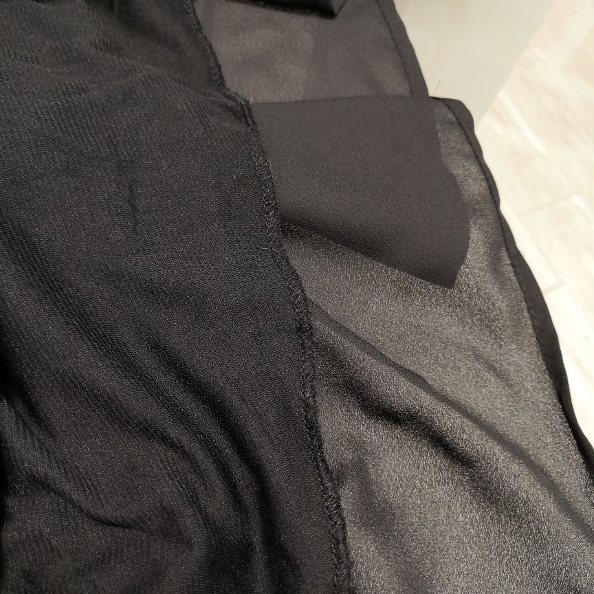 Hot 2019 autumn new fashion women's temperament commuter puff sleeve small high collar natural A word knee Chiffon dress reviews №10 342800