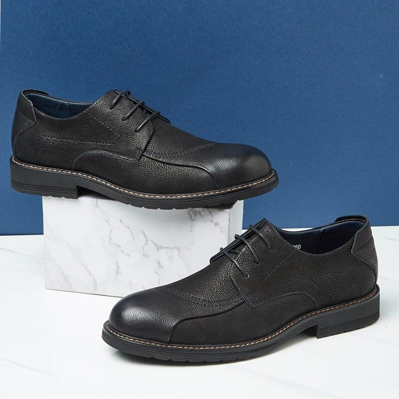 Zapatos de CAMEL para hombre cómodos zapatos casuales hombres cuero genuino Retro moda negocios suave antideslizante zapatos de hombre - 2
