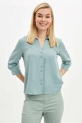 DeFacto Женская Весенняя Базовая рубашка Женская Повседневная желтая белая зеленая рубашка с длинным рукавом Женская Shirts-K8802AZ20SP