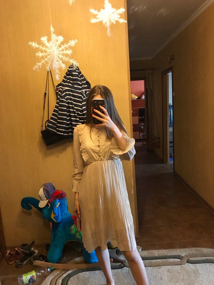 Vintage O Neck Ruffles Chiffon Women Dress Flare Sleeve Polka Dot Lace Up Female Dress Two Layers Pleated Vestidos photo review