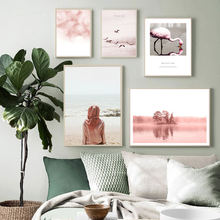 Poster Wall Art Nordic Posters And Prints Pink Car Girl Flamingo Painting Home Decor Wall Pictures For Living Room Decoration(China)