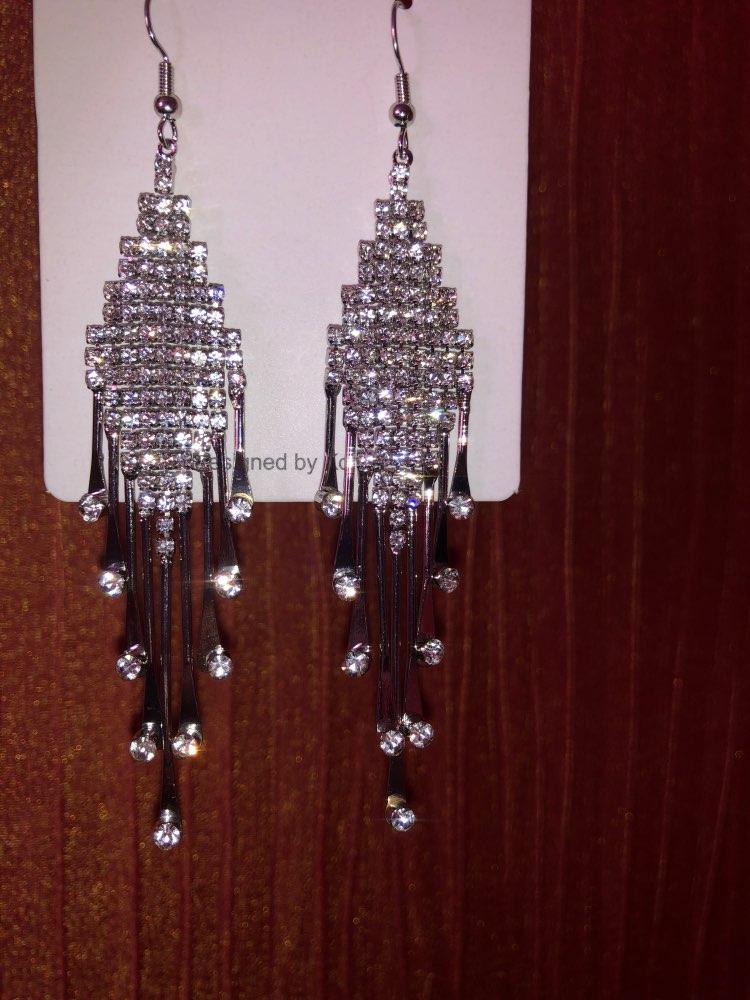 S925 Silver Needle Crystal Earrings Women's Exaggerated Long Earrings Tassel Rhinestone Earrings Fashion Lady Korean Ear Jewelry