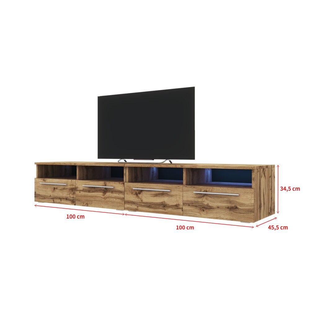 Selsey PHIRIS DOUBLE - Meuble tv / Banc tv (2x100 cm, chêne wotan, éclairage LED) 4