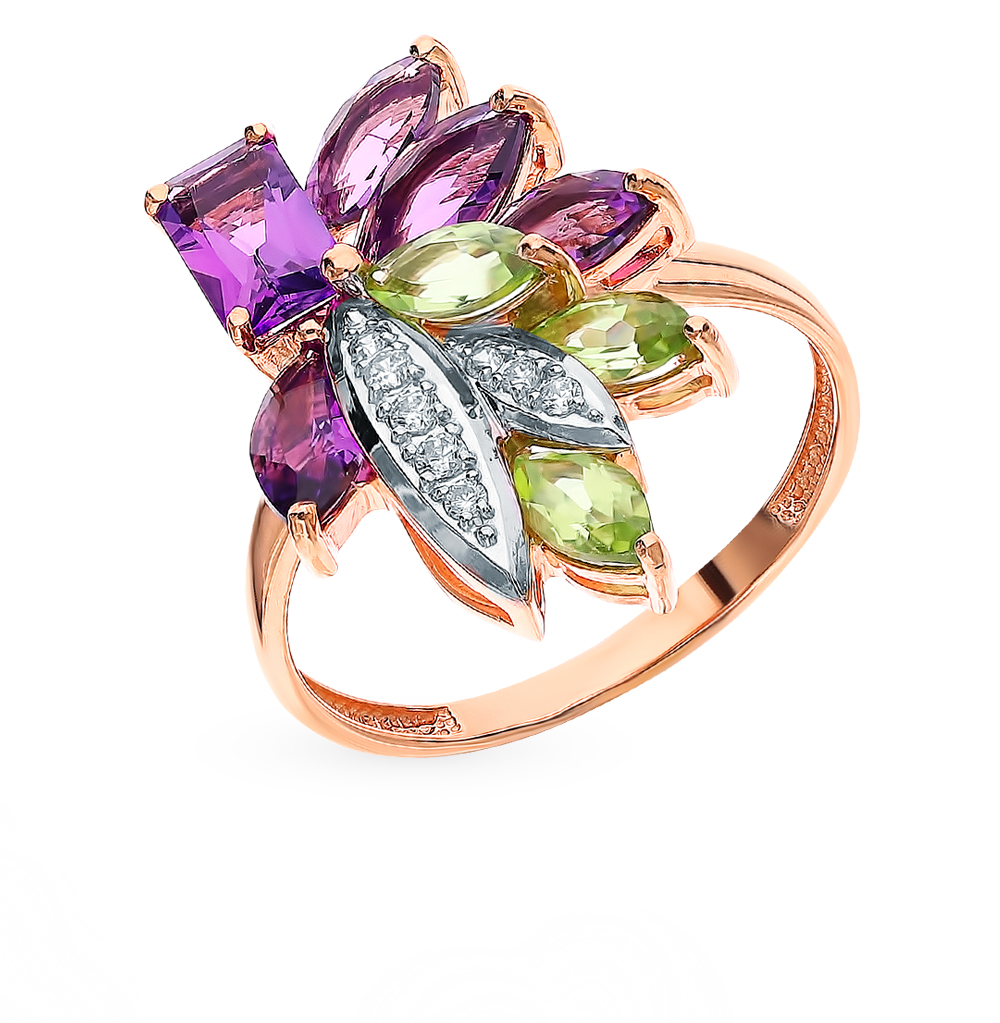 Gold Ring With Peridot, Amethyst And Cubic Zirconia SUNLIGHT Test 585