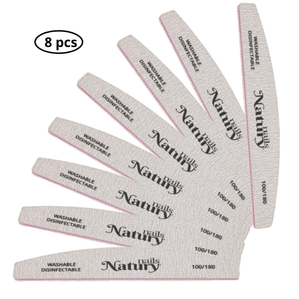 Double Sided Grained Pros Nail Files 100/180. Natury Nails Set 8 Pcs