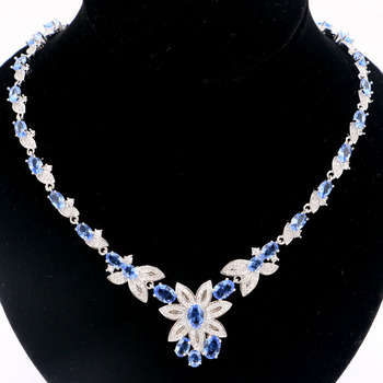 27x23mm Gorgeous Created Violet Tanzanite White CZ Woman's Wedding Silver Necklace 18.5-19.5inch