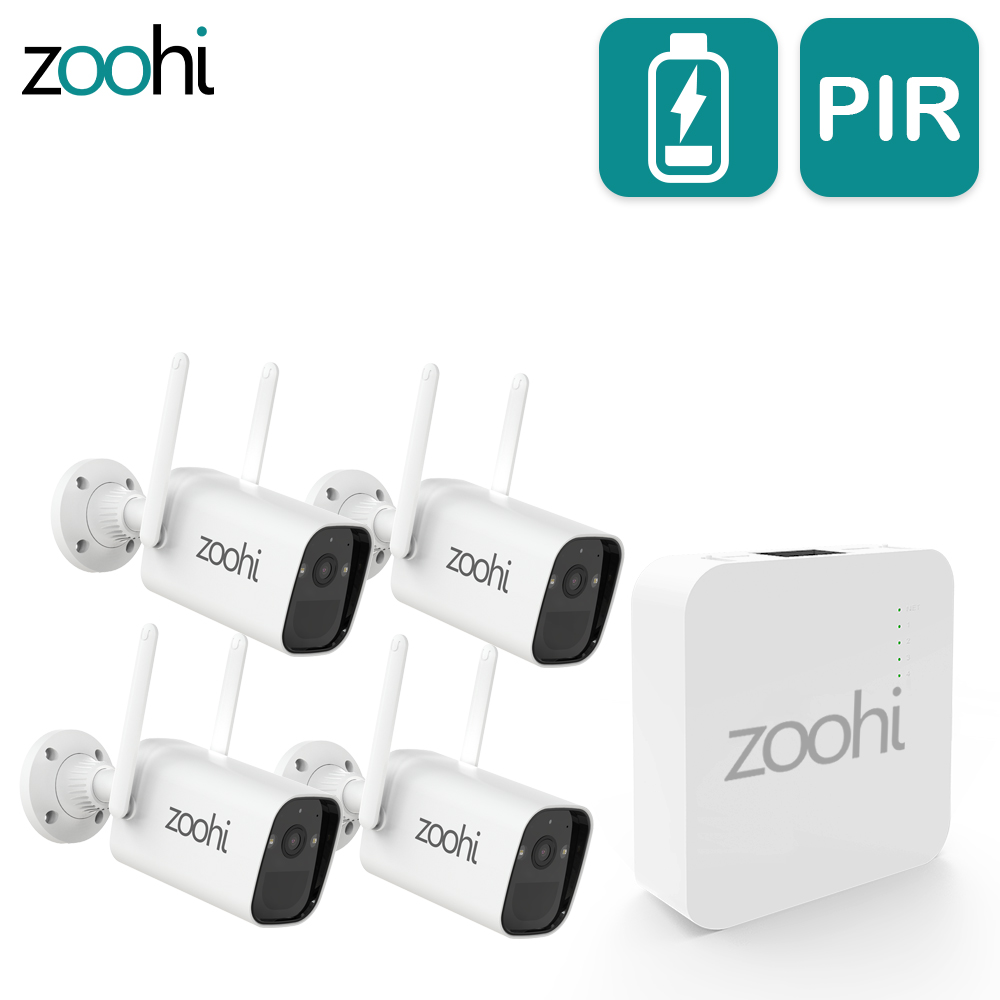 Zoohi Wireless Battery Camera With Solar Panel Mini NVR System PIR Smart Detection Surveillance Wire-Free Security Camera Kit