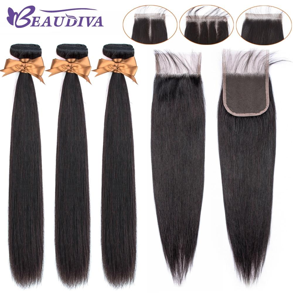 Ud3894d71f54b4a52b2f10c77c823dbe0b Beaudiva Hair Extension 100% Human Hair Bundles With Closure Brazilian Hair Weave 3 Bundles Straight Bundles With Lace Closure