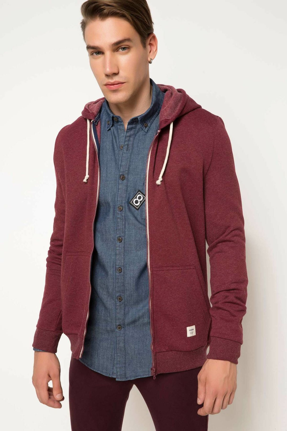 DeFacto Man Autumn Spring Casual Long Sleeve Cardigan Coats/ Men Solid Color Hoodies Bolero-G0175AZ17AU