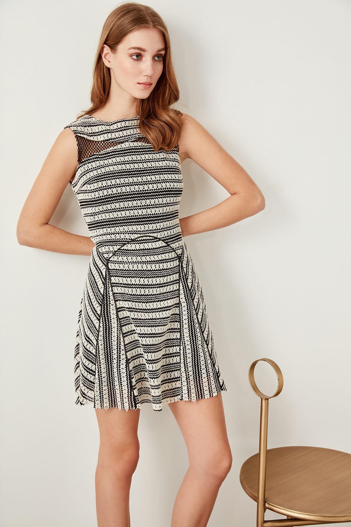 Trendyol Fishnet Detail Specific Fabric Dress TPRSS19FZ0072