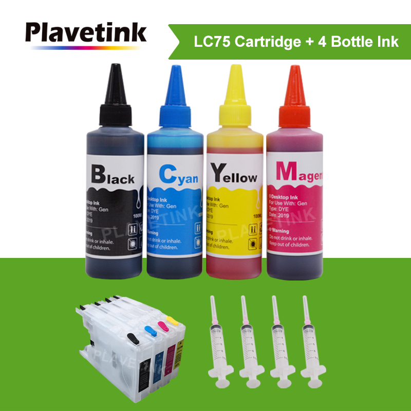 Plavetink 4 Color Refillable Ink + LC <font><b>12</b></font> 40 71 73 <font><b>75</b></font> 400 1220 1240 XL Ink Cartridge For Brother MFC J6910CDW J6710CDW J5910CDW image
