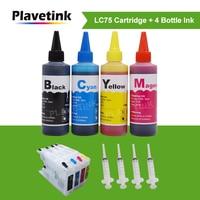 Plavetink LC75 LC400 LC1220 LC1240 XL Printer Ink Cartridge + 4 Bottle Ink For Brother MFC J6510DW J435W J835DW J280W J425W