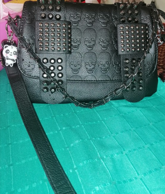 Gothic Punk Women Bag with  Rivets and Skull print photo review