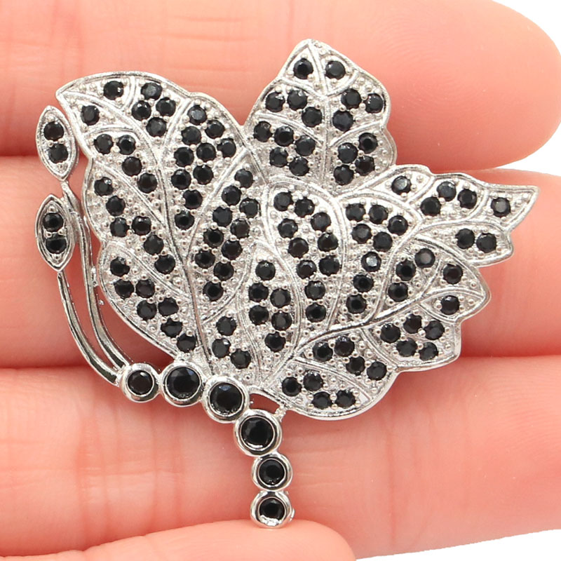 37x35mm SheCrown Big Butterfly Shape 6.1g Black Sapphire Wedding Woman's Silver Brooch