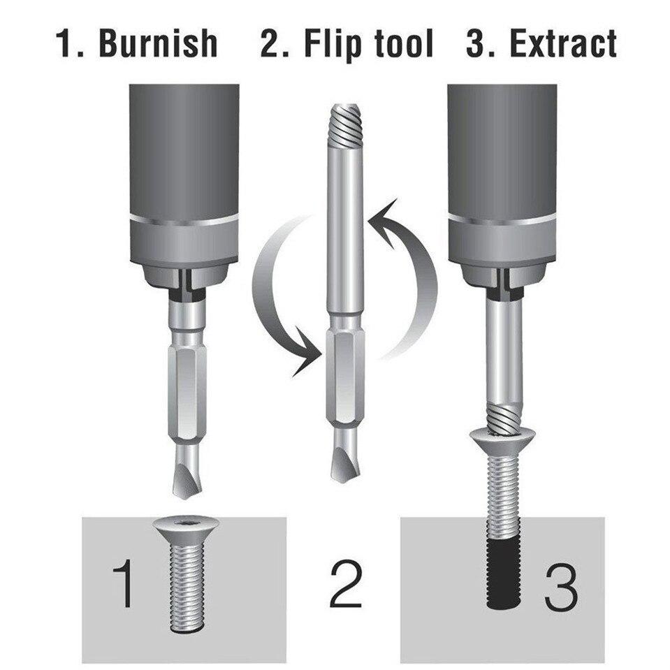 4 Stks/set Beschadigd Schroevendraaier Extractor Set Double Side Gebroken Schroef Bolt Stud Remover Puller Center Boor Removal Tools 4