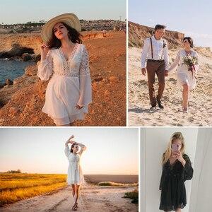 Image 5 - Anself Sexy Womens Dress V Neck Hollow Out Long Sleeve Mini Chiffon Dress Elegant White Boho Woman Dresses Casual Lace Vestido