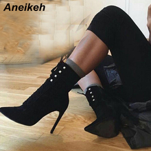 Aneikeh Sexy Shoes Woman Ankle Boots Pointed Toe Lace Up Cross Strap Bootie Shoes Stiletto High Heels Autumn Gladiator Boots цена 2017