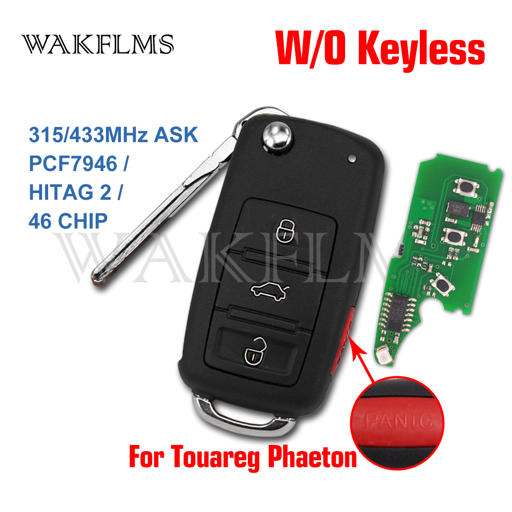 3btn Brand High quality 4 button Remote Key fob 315MHz 433mhz For VW for Volkswagen Phaeton Touareg 2002 2010 with PCF7946 CHIP-in Car Key from Automobiles & Motorcycles