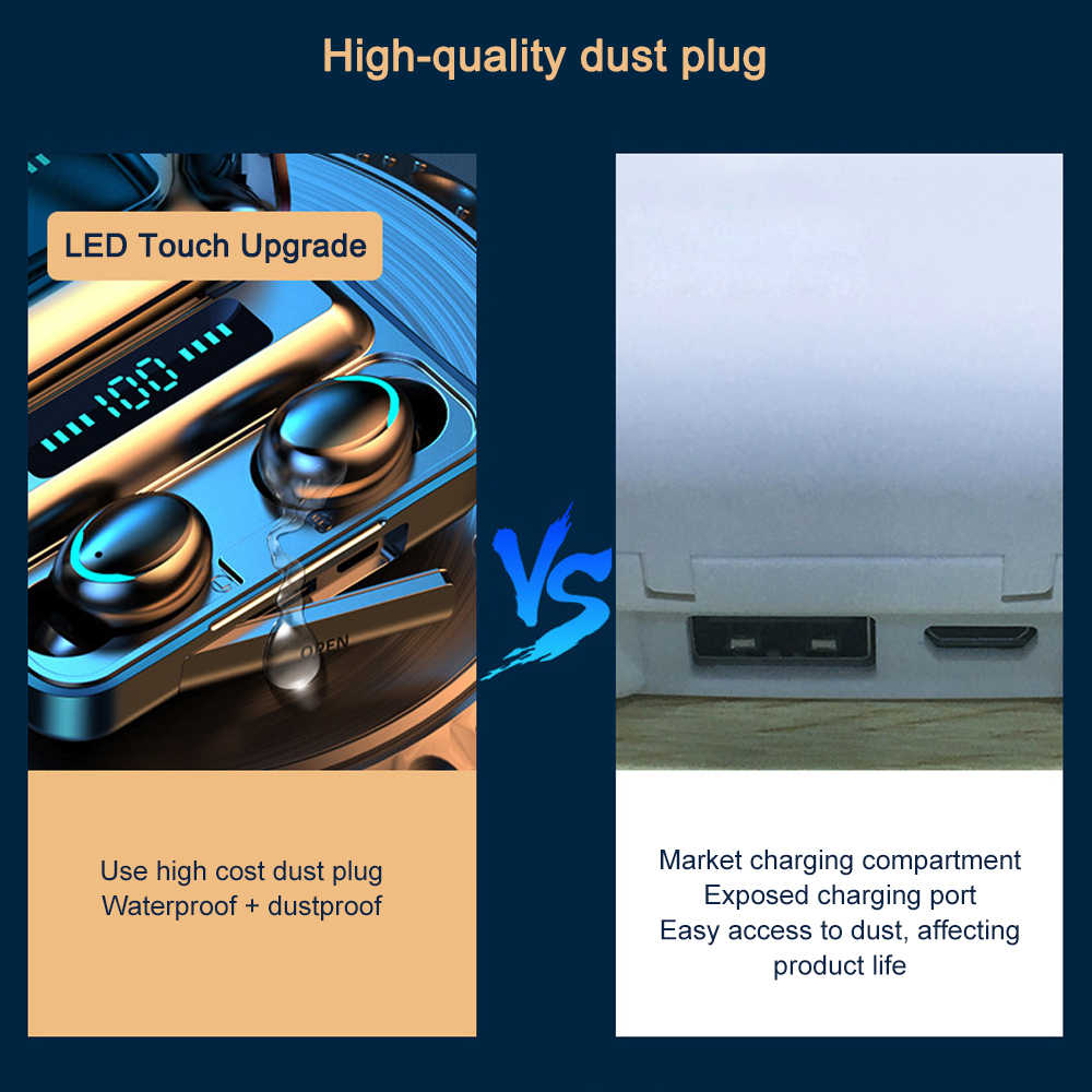 Touch di Controllo Senza Fili di Bluetooth Auricolari Cuffie Display A LED Vero Auricolari Senza Fili Sport Auricolare Stereo 8D Stereo per il telefono