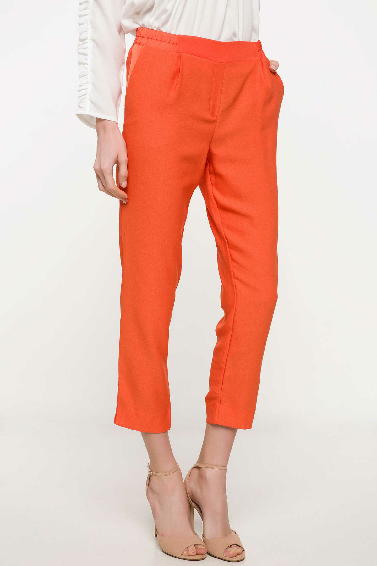 DeFacto Woman Spring Cargo Pants Women Orange Blue Long Pants Female Skinny Mid-waist Bottoms Trousers-I9922AZ18SP
