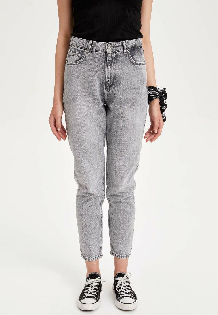 DeFacto Gray Lady High-waist Skinny Denim Jeans Joker Simple Stretch Pencil Pants Breathable-J4121AZ19SM-J4121AZ19SM