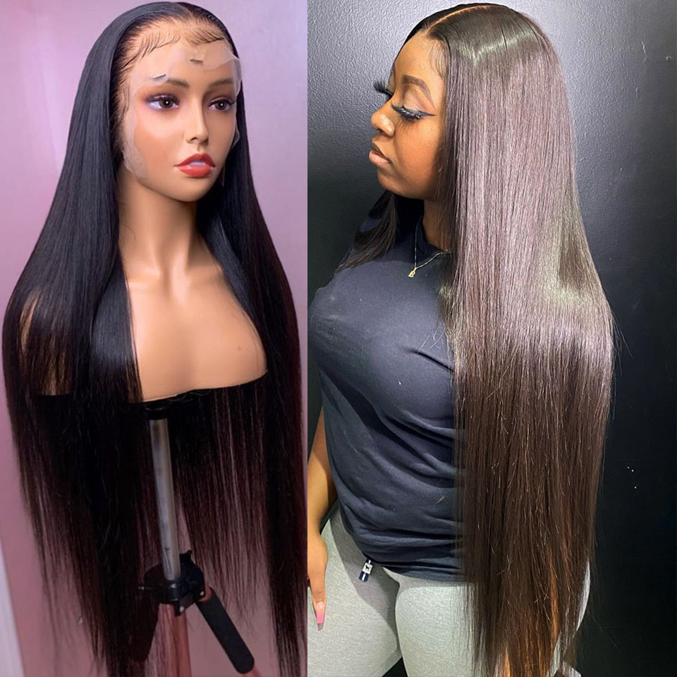 Brazilian Straight Closure Wig Long Frontal Wigs 130% 13x6x1 Lace Front Human Hair Wigs For Black Women