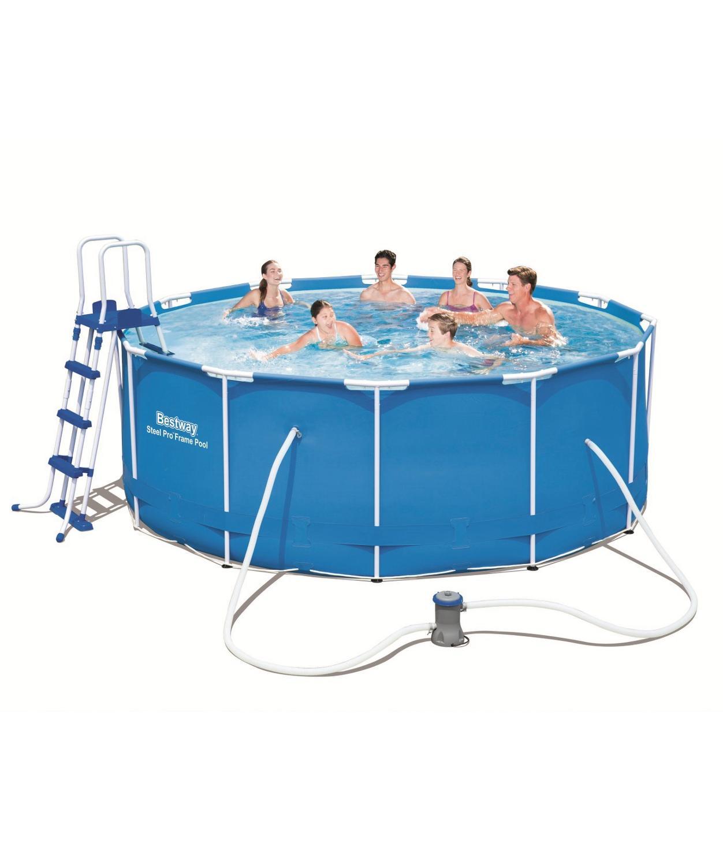 Каркасный круглый бассейн 366х122 см, 10250 л, Bestway, полный комплект, синий, арт. 56205|Бассейн и аксессуары|   | АлиЭкспресс