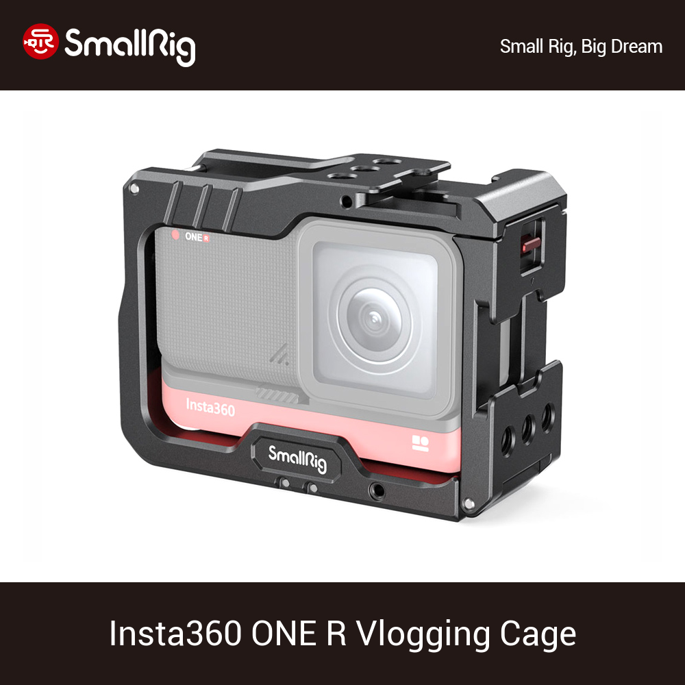 SmallRig Vlog Camera Cage for Insta360 ONE R Vlogging Aluminum Cage With Cold Shoe Mount Vlogging Tripod Support Camera Rig 2798