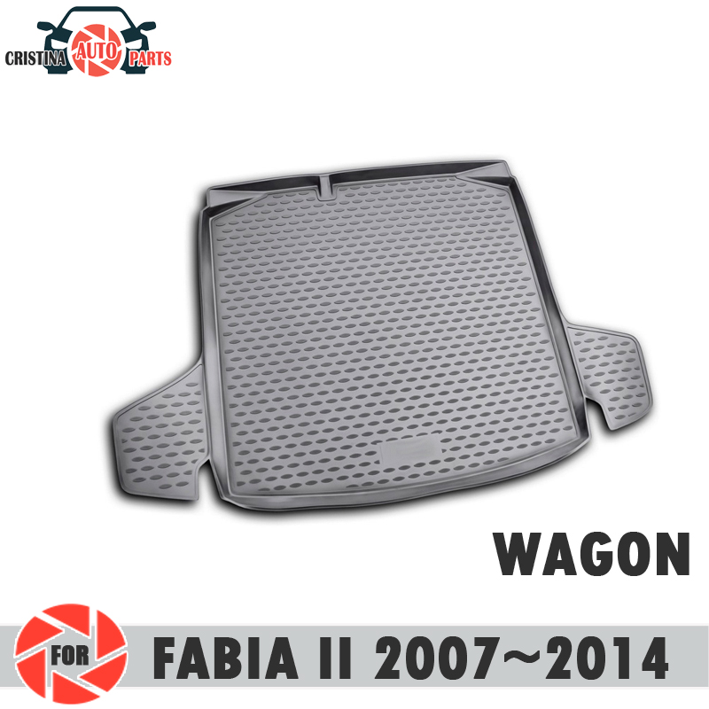 лучшая цена Trunk mat for Skoda Fabia II 2007~2014 WAGON trunk floor rugs non slip polyurethane dirt protection trunk car styling