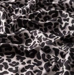 Black Leopard Print Silk Shawl - Neck - Head - Made in Turkey - %100 Silk - Modern Pattern