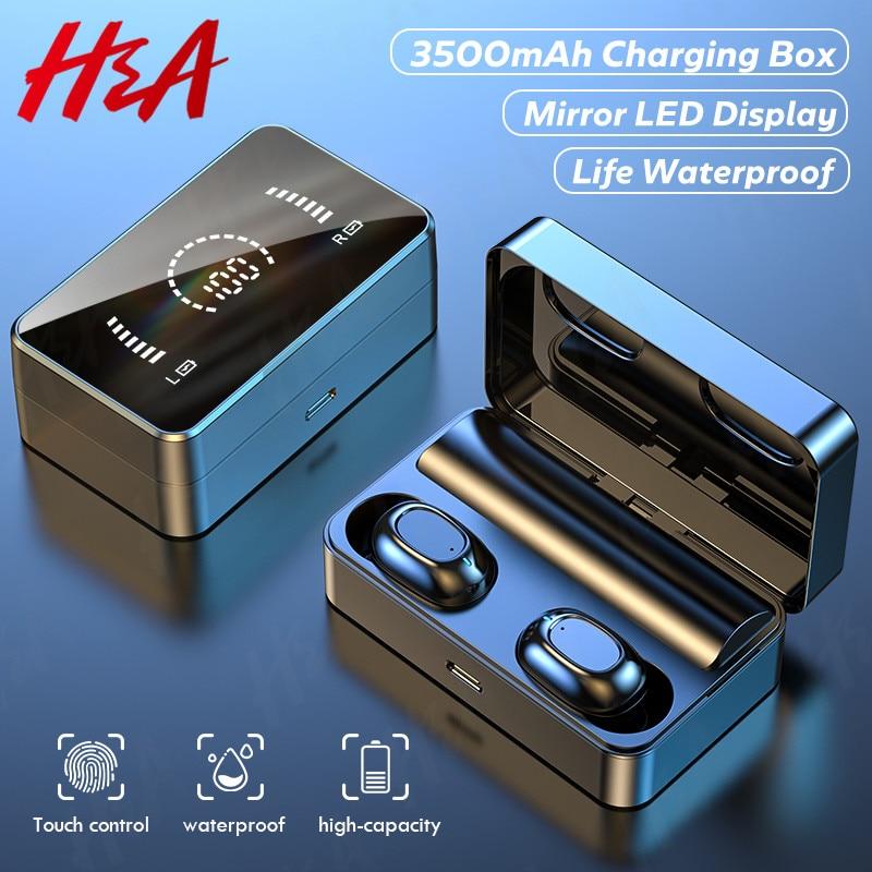 TWS אלחוטי Bluetooth אוזניות HD מראה מסך LED תצוגה אוזניות עם 3500mAh טעינת תיבת 9D HIFI סטריאו Earbud אוזניות