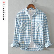 Novo grande pago camisas dos homens manga longa 100% algodão casual camisa azul outono magro confortável topos homem roupas chemise homme 5081