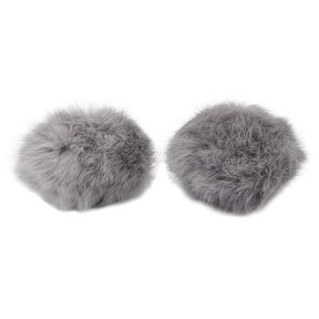 Pompon Made Of Natural Fur (rabbit), D-10cm, 2 Pcs/pack (I Gray)