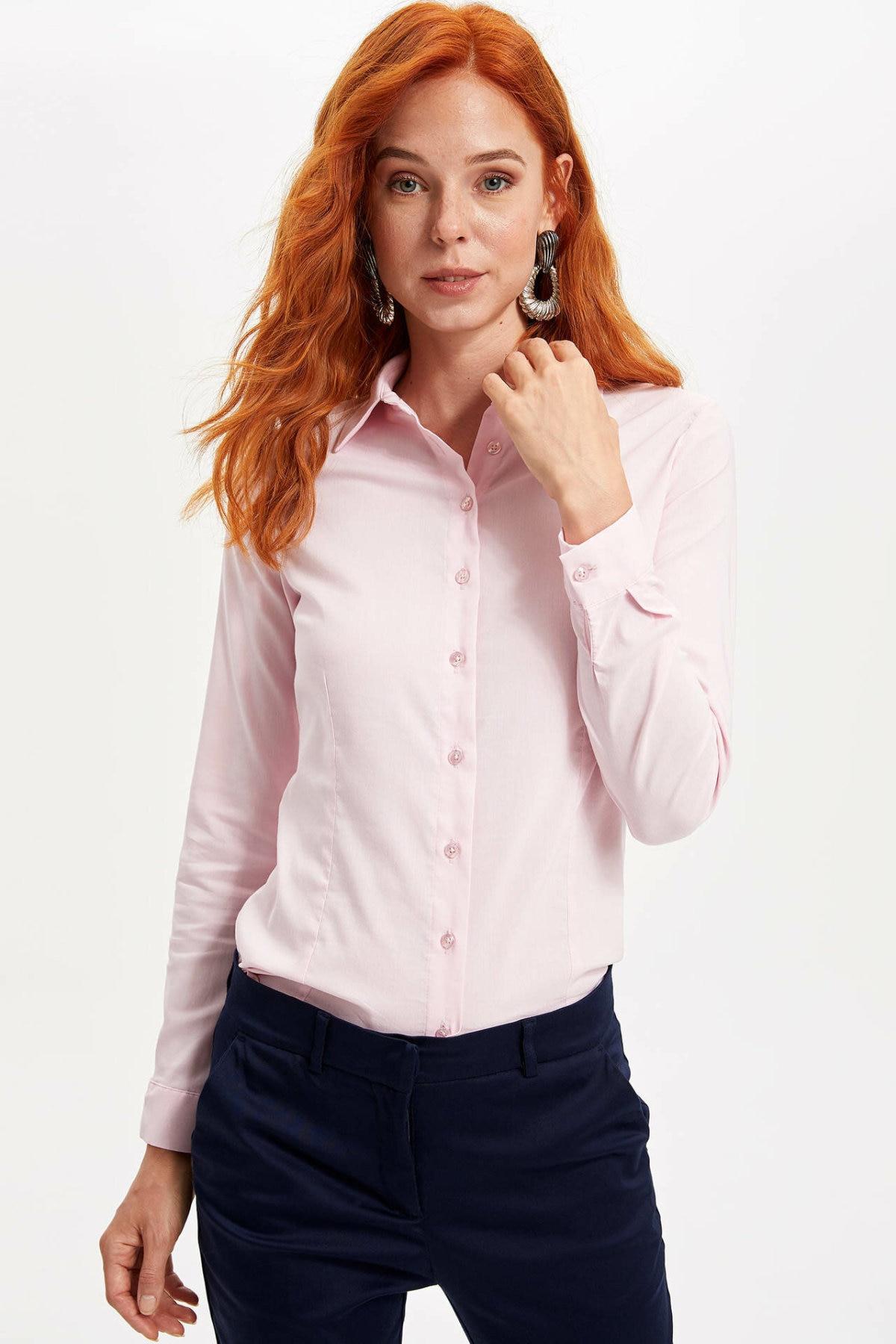DeFacto Women Slim Fashion Lapel Collar Shirt Loose Pullover Casual Solid Long Sleeves Shirt Tops Women Autumn New - I5278AZ19AU