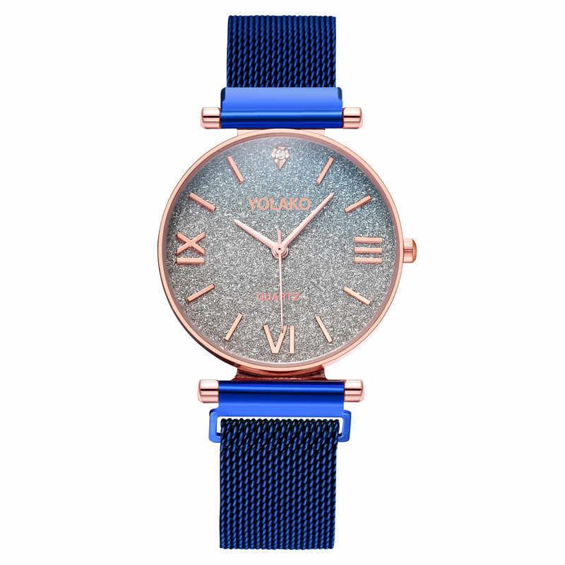 2019 新星空豪華な女性のファッションエレガントなマグネットバックルビブラート紫ゴールド女性腕時計 часы женские リロイ