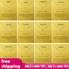 Female Elegant Star Zodiac Sign 12 Constellation Necklaces Pendants Charm Gold Chain Choker Necklaces for Women Jewelry(China)