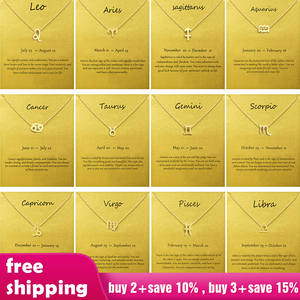 Choker Necklaces Pendants Zodiac Sign Gold Chain Women Jewelry Star Female Charm Elegant