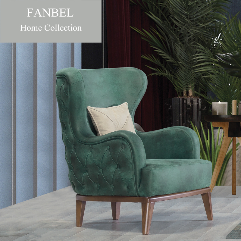 FANBEL Furiniture Living Room Single Sofa Lounge Chair Chesterfield Wood Frame Luxury LIZBON