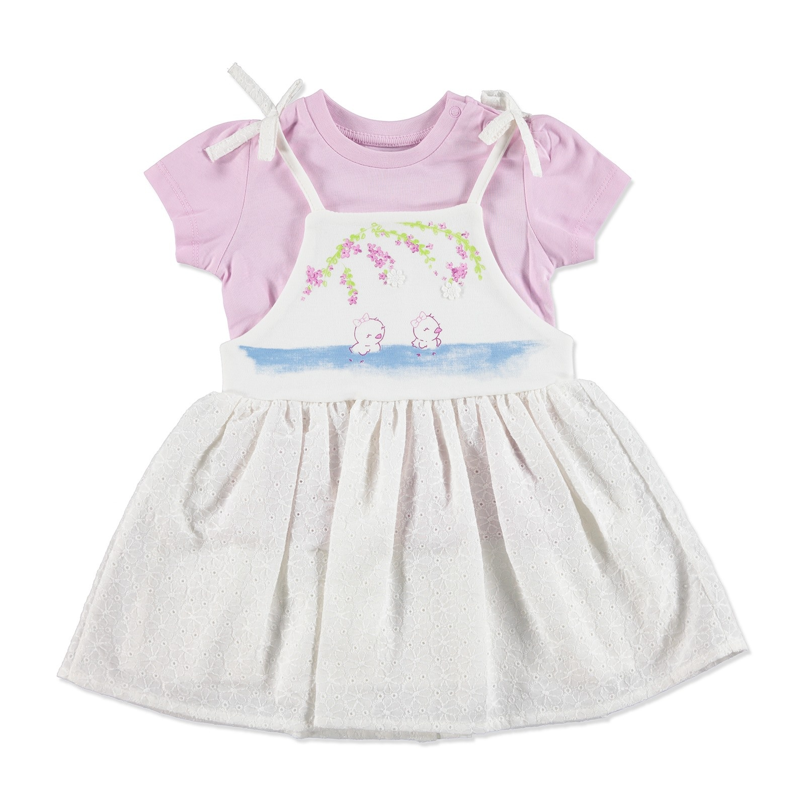 Ebebek HelloBaby Summer Baby Girl Dot Flower Dress T-shirt Set