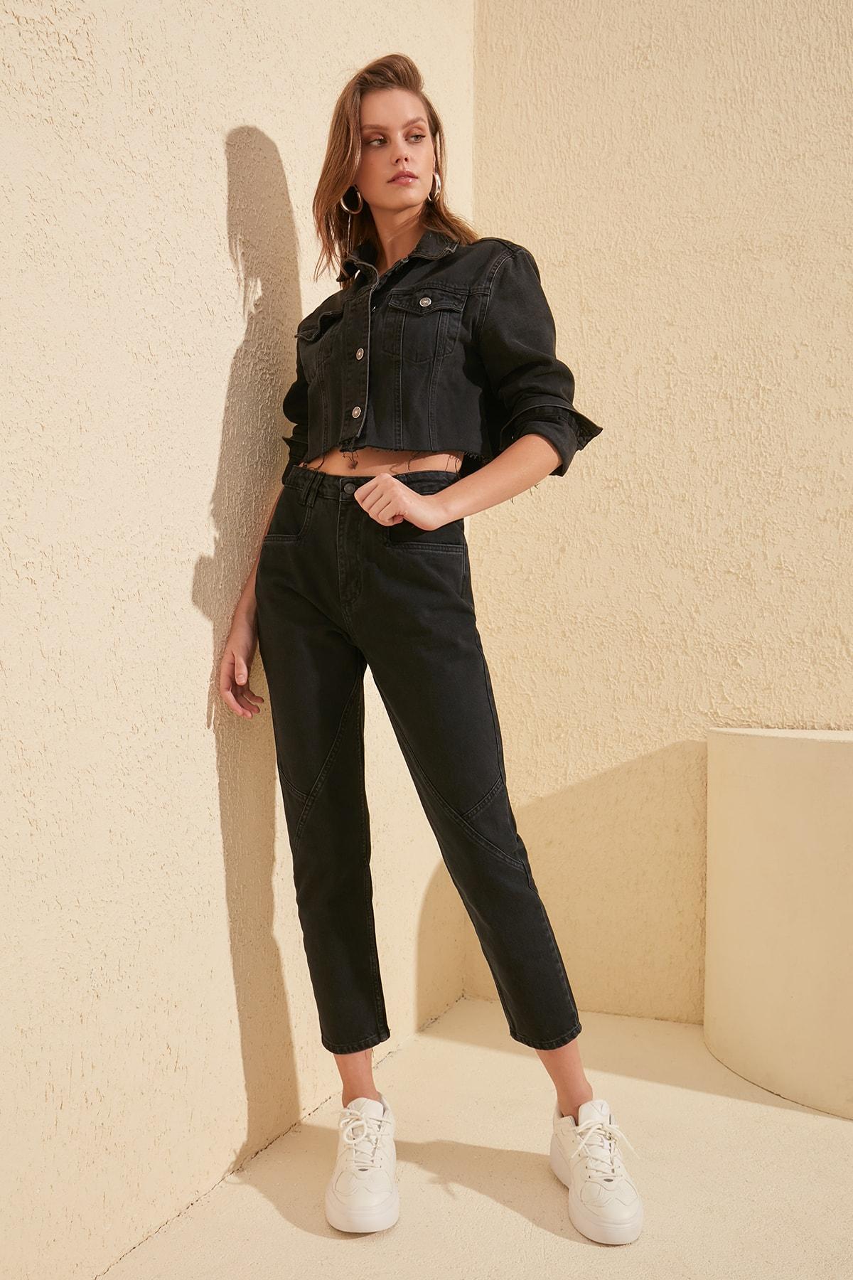 Trendyol Stitch Detail High Bel Mom Jeans TWOSS20JE0128